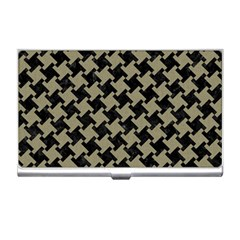 Houndstooth2 Black Marble & Khaki Fabric Business Card Holders by trendistuff