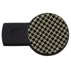 Houndstooth2 Black Marble & Khaki Fabric Usb Flash Drive Round (2 Gb) by trendistuff