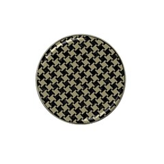 Houndstooth2 Black Marble & Khaki Fabric Hat Clip Ball Marker (4 Pack) by trendistuff