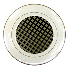 Houndstooth2 Black Marble & Khaki Fabric Porcelain Plates by trendistuff