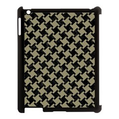 Houndstooth2 Black Marble & Khaki Fabric Apple Ipad 3/4 Case (black) by trendistuff