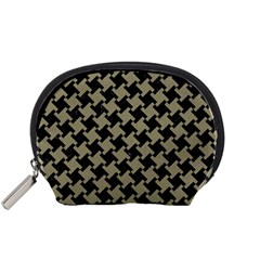 Houndstooth2 Black Marble & Khaki Fabric Accessory Pouches (small)  by trendistuff