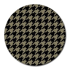 Houndstooth1 Black Marble & Khaki Fabric Round Mousepads by trendistuff