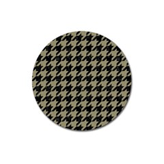 Houndstooth1 Black Marble & Khaki Fabric Magnet 3  (round) by trendistuff