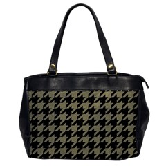 Houndstooth1 Black Marble & Khaki Fabric Office Handbags by trendistuff