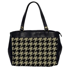 Houndstooth1 Black Marble & Khaki Fabric Office Handbags (2 Sides)  by trendistuff