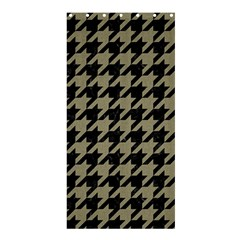 Houndstooth1 Black Marble & Khaki Fabric Shower Curtain 36  X 72  (stall)  by trendistuff
