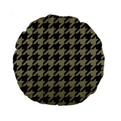 Houndstooth1 Black Marble & Khaki Fabric Standard 15  Premium Round Cushions by trendistuff