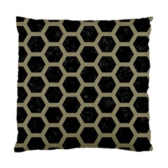 Hexagon2 Black Marble & Khaki Fabric (r) Standard Cushion Case (two Sides) by trendistuff