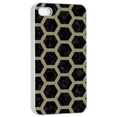 Hexagon2 Black Marble & Khaki Fabric (r) Apple Iphone 4/4s Seamless Case (white) by trendistuff