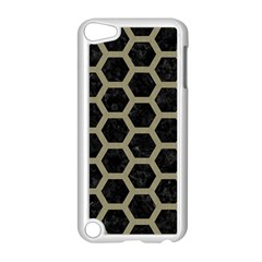 Hexagon2 Black Marble & Khaki Fabric (r) Apple Ipod Touch 5 Case (white) by trendistuff