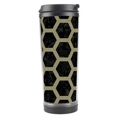 Hexagon2 Black Marble & Khaki Fabric (r) Travel Tumbler by trendistuff