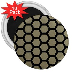 Hexagon2 Black Marble & Khaki Fabric 3  Magnets (10 Pack)  by trendistuff