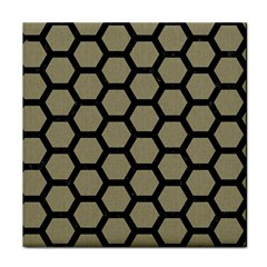 Hexagon2 Black Marble & Khaki Fabric Face Towel by trendistuff