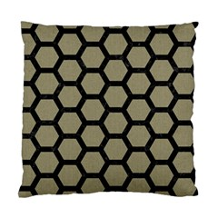 Hexagon2 Black Marble & Khaki Fabric Standard Cushion Case (two Sides) by trendistuff