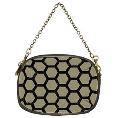 Hexagon2 Black Marble & Khaki Fabric Chain Purses (two Sides)  by trendistuff
