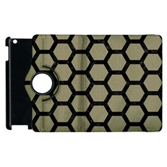 Hexagon2 Black Marble & Khaki Fabric Apple Ipad 2 Flip 360 Case by trendistuff