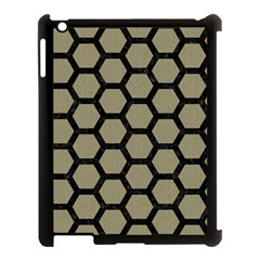 Hexagon2 Black Marble & Khaki Fabric Apple Ipad 3/4 Case (black) by trendistuff