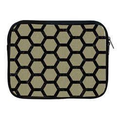 Hexagon2 Black Marble & Khaki Fabric Apple Ipad 2/3/4 Zipper Cases by trendistuff