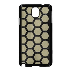 Hexagon2 Black Marble & Khaki Fabric Samsung Galaxy Note 3 Neo Hardshell Case (black) by trendistuff