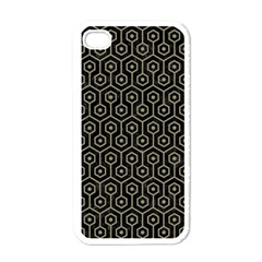 Hexagon1 Black Marble & Khaki Fabric (r) Apple Iphone 4 Case (white) by trendistuff