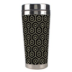 Hexagon1 Black Marble & Khaki Fabric (r) Stainless Steel Travel Tumblers by trendistuff