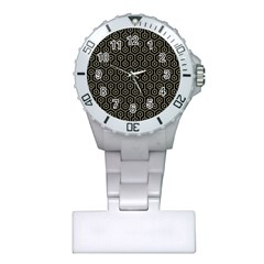 Hexagon1 Black Marble & Khaki Fabric (r) Plastic Nurses Watch by trendistuff