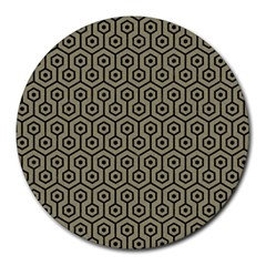 Hexagon1 Black Marble & Khaki Fabric Round Mousepads by trendistuff