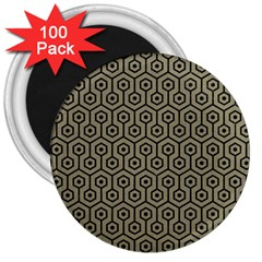 Hexagon1 Black Marble & Khaki Fabric 3  Magnets (100 Pack) by trendistuff