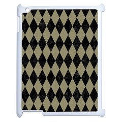 Diamond1 Black Marble & Khaki Fabric Apple Ipad 2 Case (white) by trendistuff