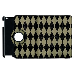 Diamond1 Black Marble & Khaki Fabric Apple Ipad 2 Flip 360 Case by trendistuff