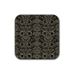 Damask2 Black Marble & Khaki Fabric (r) Rubber Coaster (square)  by trendistuff