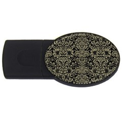 Damask2 Black Marble & Khaki Fabric (r) Usb Flash Drive Oval (4 Gb) by trendistuff
