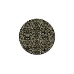 Damask2 Black Marble & Khaki Fabric Golf Ball Marker