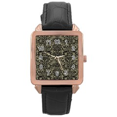 Damask2 Black Marble & Khaki Fabric Rose Gold Leather Watch  by trendistuff