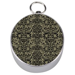 Damask2 Black Marble & Khaki Fabric Silver Compasses by trendistuff