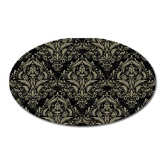 Damask1 Black Marble & Khaki Fabric (r) Oval Magnet by trendistuff