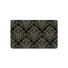 Damask1 Black Marble & Khaki Fabric (r) Magnet (name Card) by trendistuff