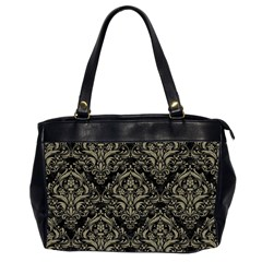 Damask1 Black Marble & Khaki Fabric (r) Office Handbags (2 Sides)  by trendistuff