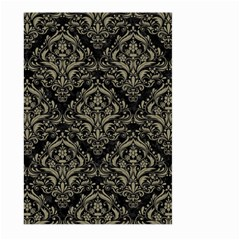 Damask1 Black Marble & Khaki Fabric (r) Large Garden Flag (two Sides)