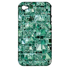 Modern Geo Fun, Teal Apple Iphone 4/4s Hardshell Case (pc+silicone) by MoreColorsinLife