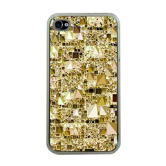Modern Geo Fun,golden Apple Iphone 4 Case (clear) by MoreColorsinLife