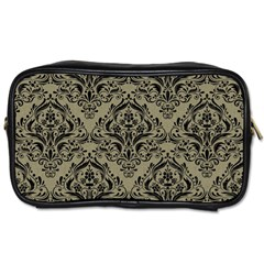 Damask1 Black Marble & Khaki Fabric Toiletries Bags 2 Side by trendistuff