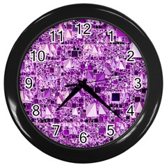 Modern Geo Fun,lilac Wall Clocks (black) by MoreColorsinLife