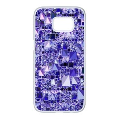 Modern Geo Fun, Blue Samsung Galaxy S7 Edge White Seamless Case by MoreColorsinLife