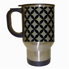 Circles3 Black Marble & Khaki Fabric Travel Mugs (white) by trendistuff