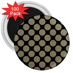 Circles2 Black Marble & Khaki Fabric (r) 3  Magnets (100 Pack)