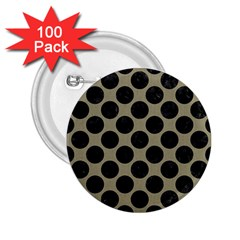 Circles2 Black Marble & Khaki Fabric 2 25  Buttons (100 Pack)  by trendistuff