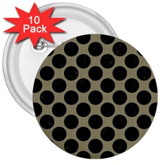 Circles2 Black Marble & Khaki Fabric 3  Buttons (10 Pack)  by trendistuff