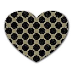 Circles2 Black Marble & Khaki Fabric Heart Mousepads by trendistuff